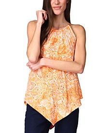 Paisley-Print Handkerchief Top, Available in Regular & Petites