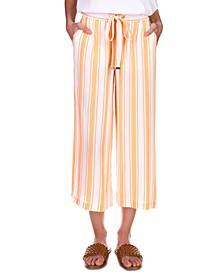Striped Drawstring-Waist Pants