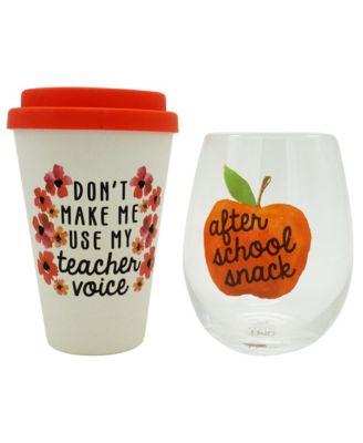 Teacher Travel Mug and Stemless Wine Glass Set