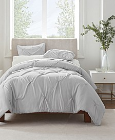 Simply Clean Antimicrobial Pleated King Duvet Set,3 Piece