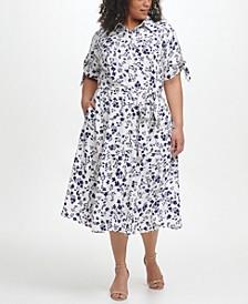Plus Size Floral-Print Shirtdress