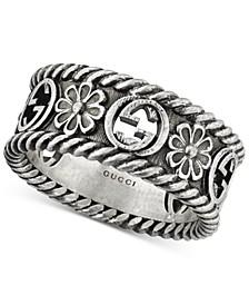 Interlocking G Flower Ring in Sterling Silver