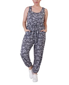Plus Size Camo-Print Jumpsuit