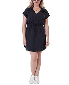 Plus Size Frayed Fit & Flare Dress