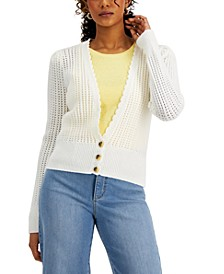 Petite Crochet Cropped Cardigan, Created for Macy's