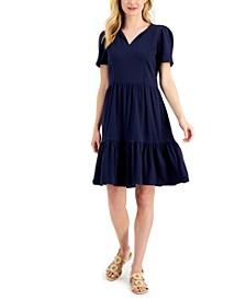 Petite Pom-Pom-Trim Tiered Dress, Created for Macy's