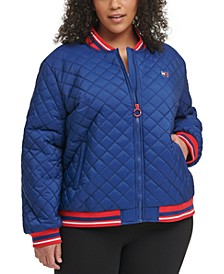 Plus Size Quilted Zip-Up Bomber Jacket