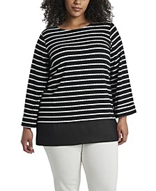 Women's Plus Size Long Sleeve Stripe Tunic