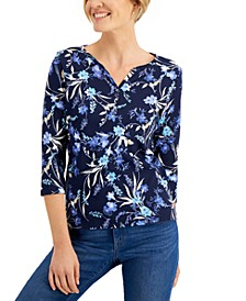 Petite Wildflower Escape Henley Shirt, Created for Macy's