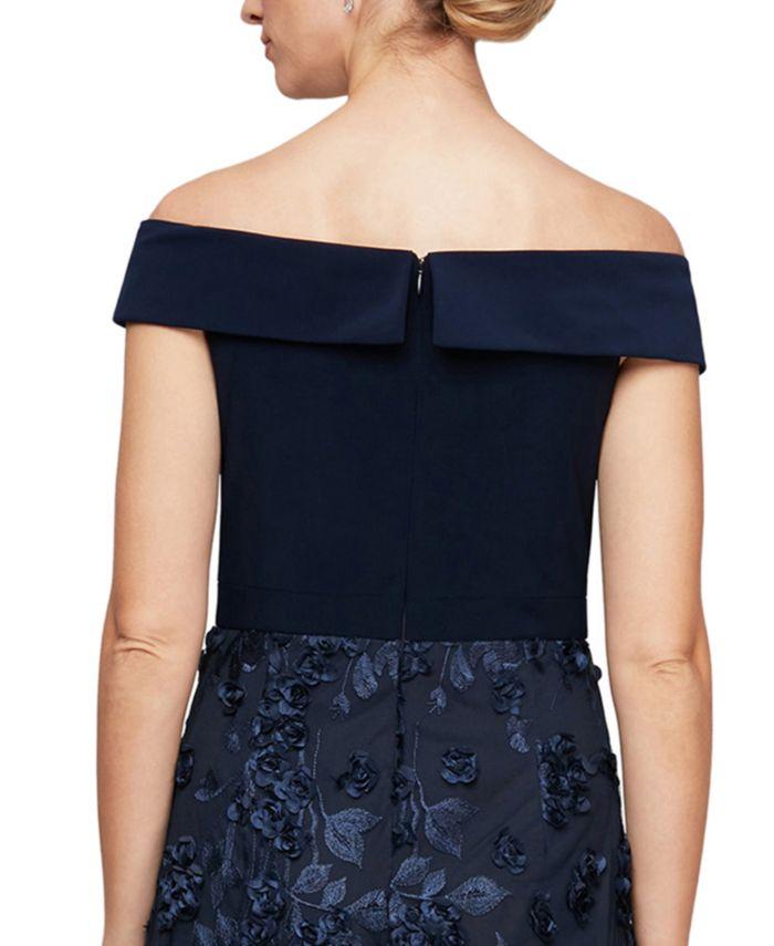 Alex Evenings Off-the-Shoulder 3D-Flower A-Line Dress & Reviews - Dresses - Women - Macy's