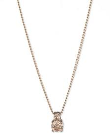 """Double Stone Pendant Necklace, 16"""" + 3"""" extender"""