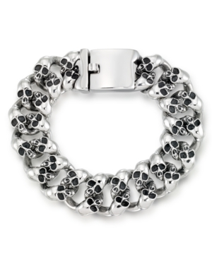 Men's Multi Skull Link Bracelet in Stainless Steel