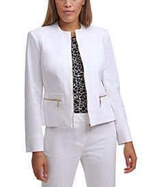 Zip-Front Collarless Jacket