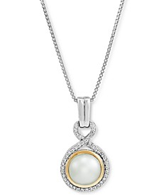 "Cultured Freshwater Pearl (8mm) & Diamond (1/6 ct. t.w.)18"" Pendant Necklace in Sterling Silver and 14k Gold"