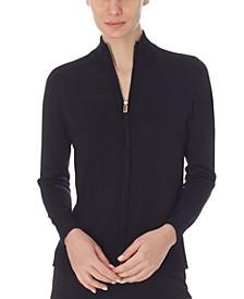 Mock-Neck Zip Sweater