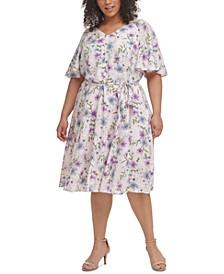 Plus Size Floral-Print Flutter-Sleeve Challis Dress