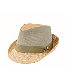 Men's Wheat Straw Braid and Cotton Fabric Applique Fedora Hat