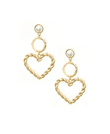 Gold Plateden Twist Pearl Earrings