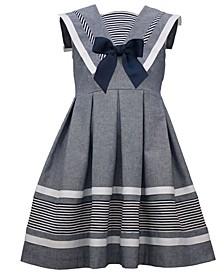 Little Girls Sleeveless Cotton Chambray Dress