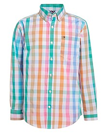 Big Boys Gingham Long Sleeve Woven Shirt