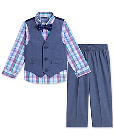 Baby Boys Textured Vest, Shirt, Pants & Bowtie Set