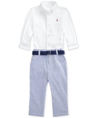 폴로 랄프로렌 Polo Ralph Lauren Baby Boys 3-Pc. Shirt, Seersucker Pants & Belt Set,White