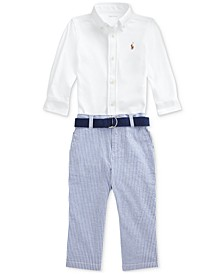 Ralph Lauren Baby Boys 3-Pc. Shirt, Seersucker Pants & Belt Set