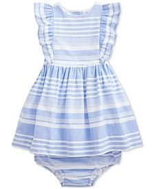 Ralph Lauren Baby Girls Striped Oxford Cotton Dress & Bloomer Set