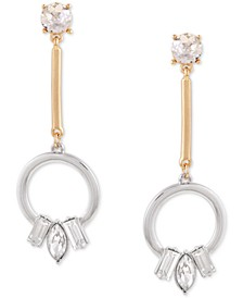 Two-Tone Crystal Circle Drop Earrings