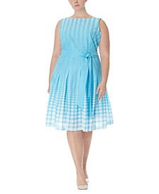 Plus Size Cotton Printed Fit & Flare Dress