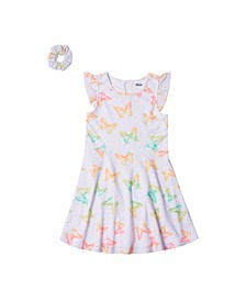 Toddler Girls All Over Print Eyelet Dress with Matching Hair Tie