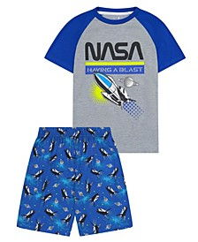 Big Boys NASA Theme 2 Piece Short Pajama Set