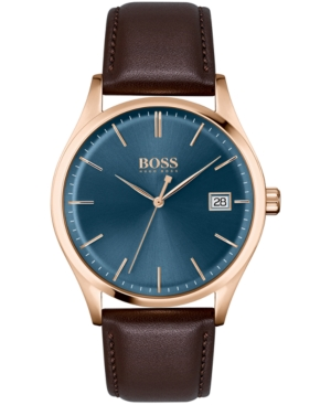 Hugo Boss MEN'S COMMISSIONER BROWN LEATHER STRAP WATCH 42MM