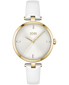 Women's Majesty White Leather Strap Watch 32mm