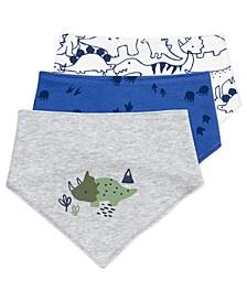 Baby Boys Bandana Bib with Dinosaur Print, 3 Pack