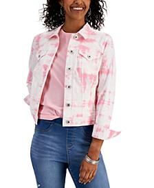 Petite Tie-Dye Denim Jacket, Created for Macy's