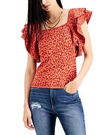 INC Ruffled Animal-Print Sweater, Created for Macy's