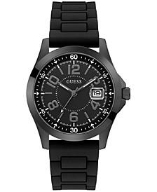 Men's Black Silicone Strap Watch 42mm