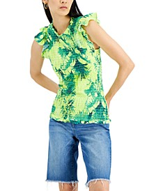 INC Tropical-Print Smocked Tank Top, Created for Macy's
