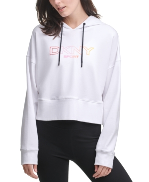 Dkny Cottons OMBRE-LOGO CROPPED HOODIE