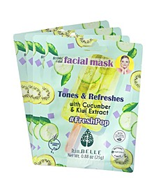 Cucumber Kiwi Extract Face Mask Set of 4 Mask, 0.88 oz