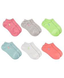 Little Girls Flat Knit 6 Pack of Socks