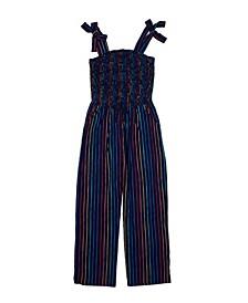 Big Girls Tie Waist Smocked Challis Jumpsuit