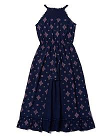 Big Girls All Over Print High Neck Challis Walkthrough Dress