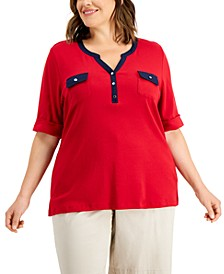 Plus Size Cotton Contrast-Trim Cuffed-Sleeve T-Shirt, Created for Macy's