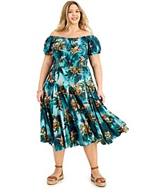 INC Plus Size Printed Off-The-Shoulder Maxi Dress, Created for Macy's