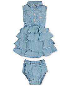 Baby Girls 2-Pc. Ruffle Denim Dress and Diaper Cover Set