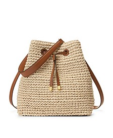Crochet-Straw Debby Drawstring Bag