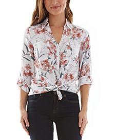 Juniors' Floral-Print Tie-Hem Shirt