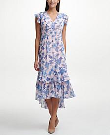 Floral-Print Tiered Midi Dress